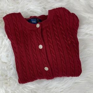 Polo Ralph Lauren Cable Knit Button Up Cardigan 6X